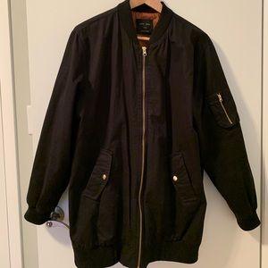 Black oversized bomber jacket